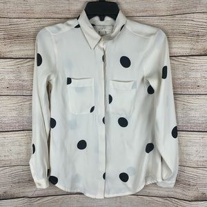 Loft Cream and Black Polka Dot Blouse Size XXS
